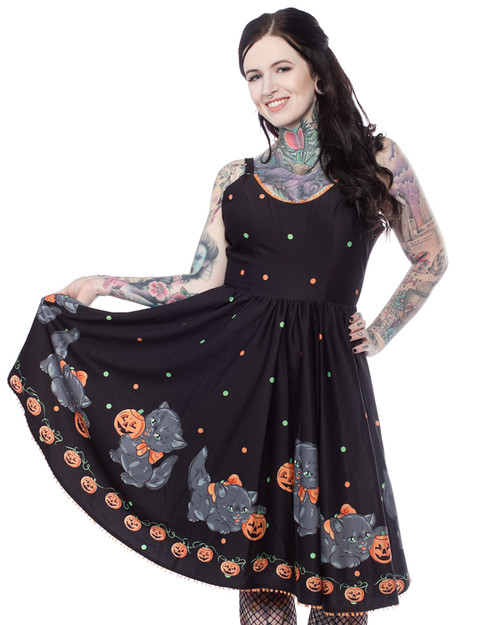 Sourpuss Feline Spooky Halloween Sweets Sleeveless Swing Dress