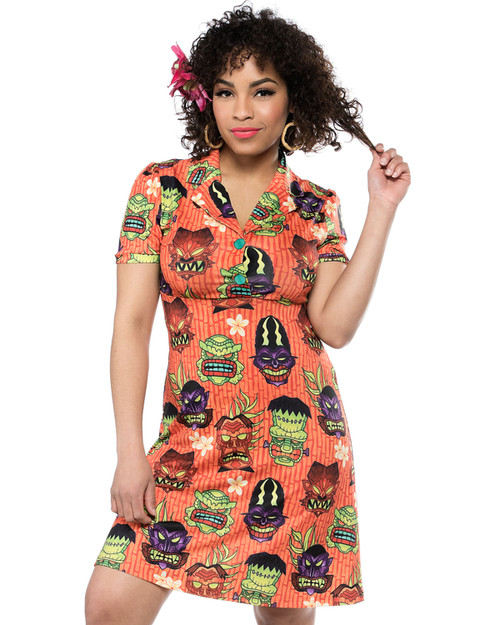 Sourpuss Monster Tiki Rosie Collared Short Sleeve Dress