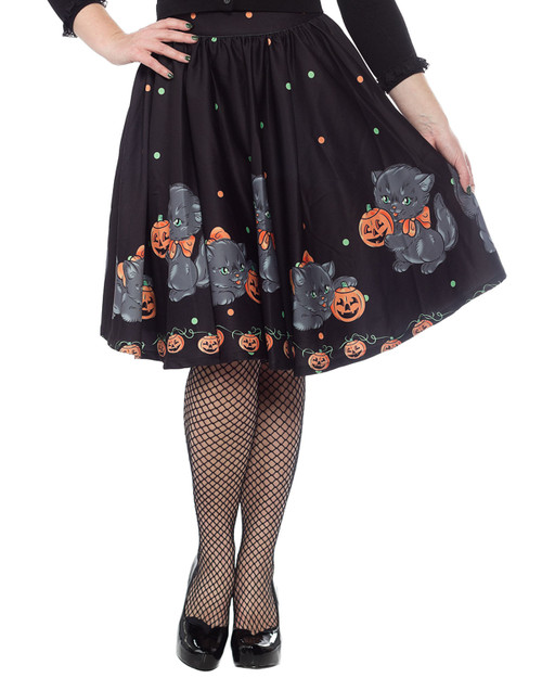 Sourpuss Feline Spooky Sweets High Waist Swing Skirt