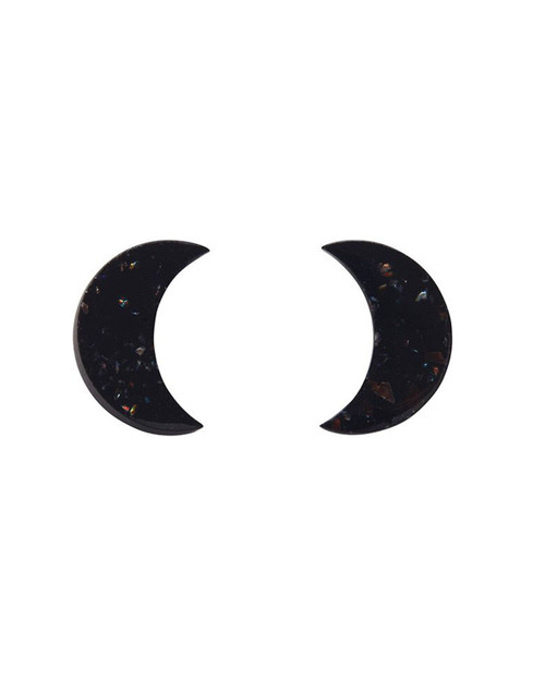 Erstwilder Crescent Moon Glitter Resin Stud Earrings
