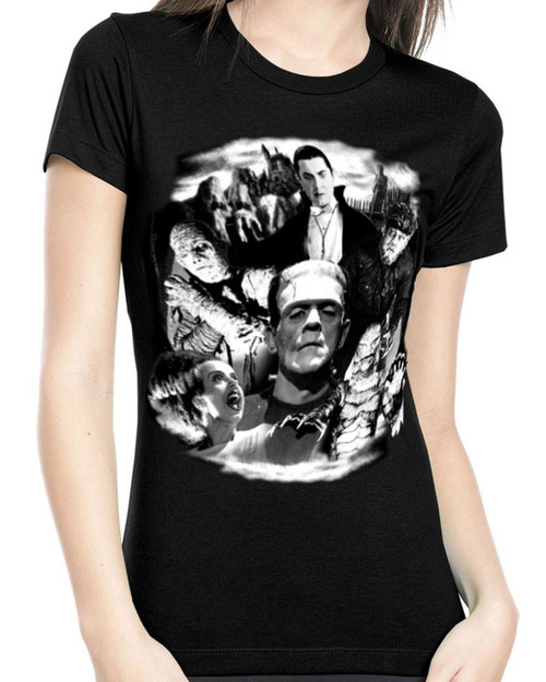 Rock Rebel Universal Monster Collage Graphic Tee