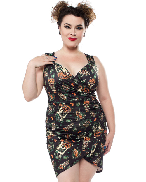 Sourpuss Hallow-Tiki Faux Wrap Dress