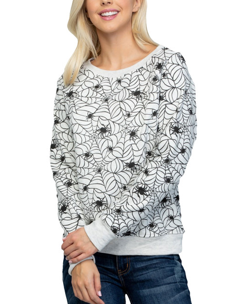 Spiderweb Graphic Pullover Sweater
