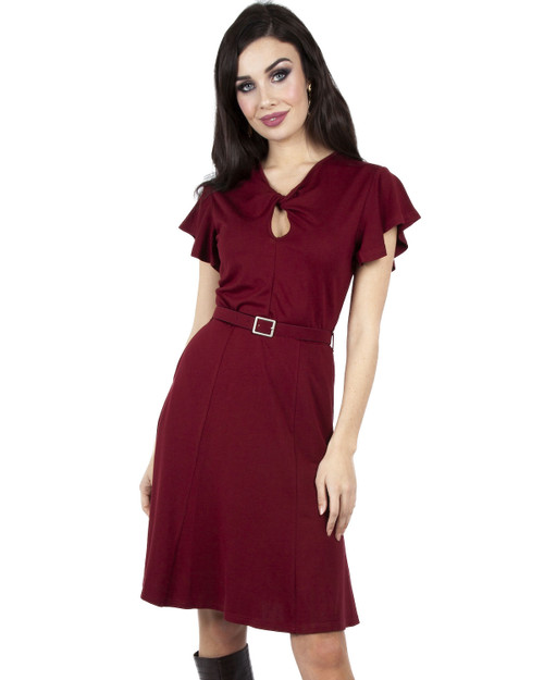 Voodoo Vixen Twist Front Flutter Sleeve Belted A-Line Dress