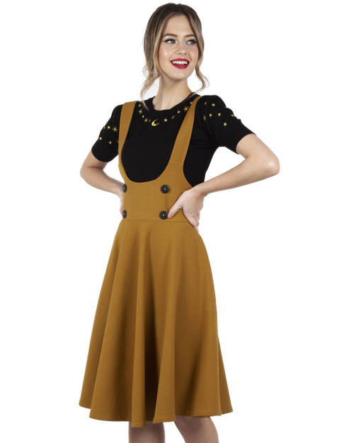 Voodoo Vixen High Waist Overall Pinafore Skirt