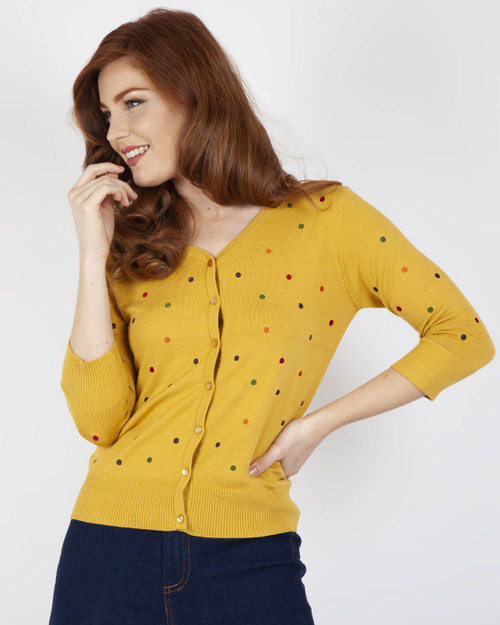 Voodoo Vixen Multi Colored Polka Dot 3/4 Sleeve Cardigan