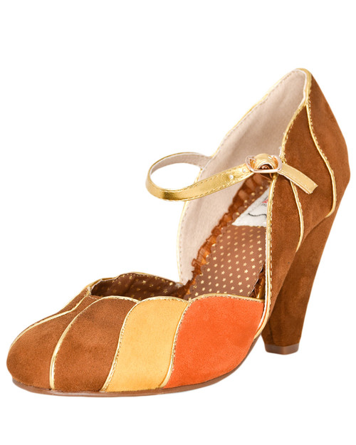 Bettie Page Kathryn Multi Color Scallop Mary Jane Pumps  Front