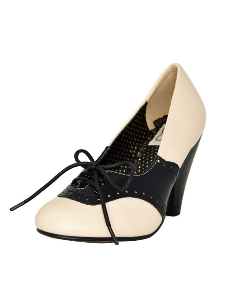 Bettie Page Carole Lace Up Oxford Pumps