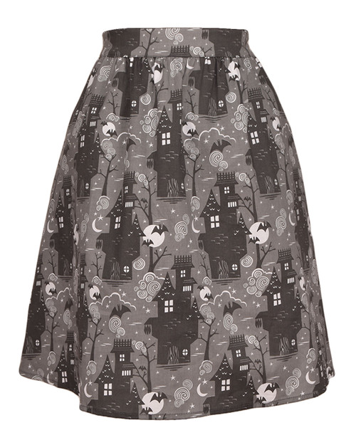 Blue Platypus Halloween Haunted House Skater Skirt  Amazon Main