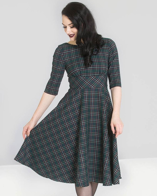 Hell Bunny Peebles Plaid 3/4 Sleeve A-Line Dress