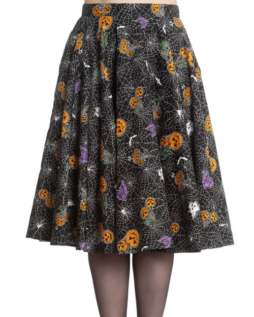 Hell Bunny Harlow Halloween High Waist Swing Skirt