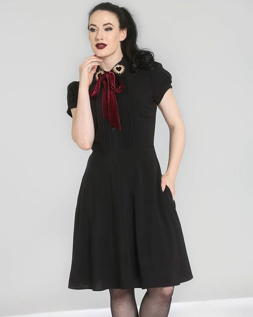 Hell Bunny Madonna Sunflower Collar Neck Tie A-Line Dress