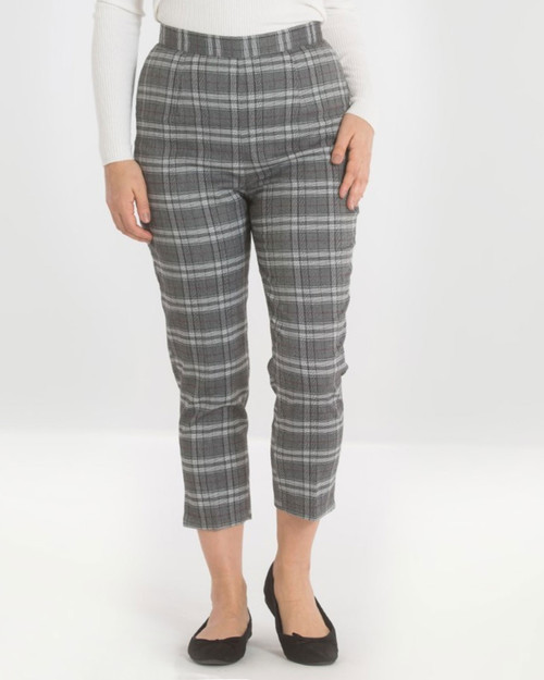 Hell Bunny Gibeon Plaid High Waist Cigarette Trousers