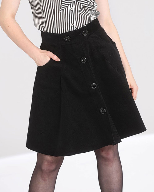 Hell Bunny Wonder Years Corduroy A-Line Mini Skirt black