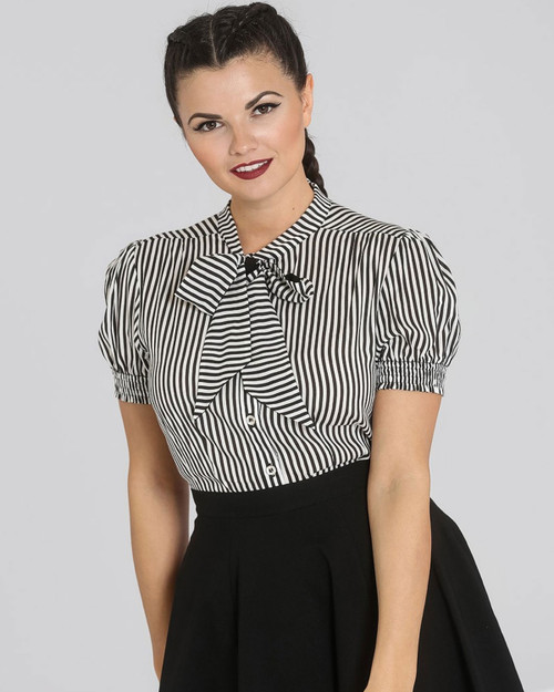 Hell Bunny Humbug Stripe Neck Tie Blouse