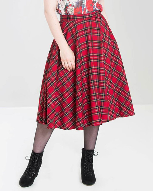 Hell Bunny Irvine Plaid High Waist Swing Skirt