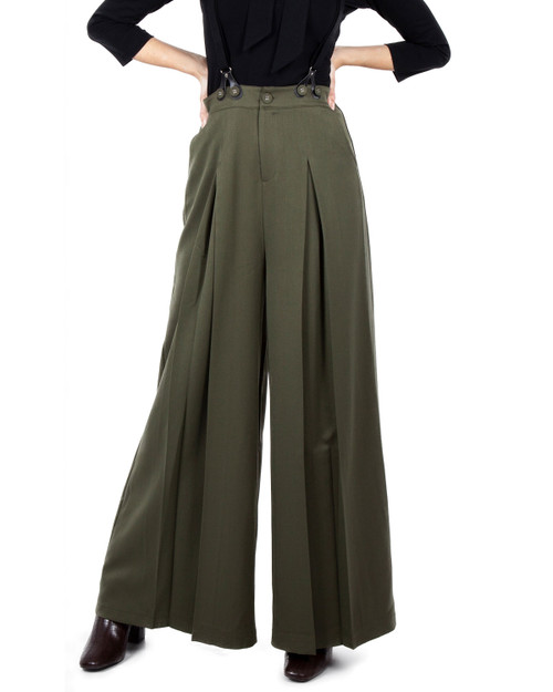 Voodoo Vixen High Waist Wide Leg Suspender Trousers