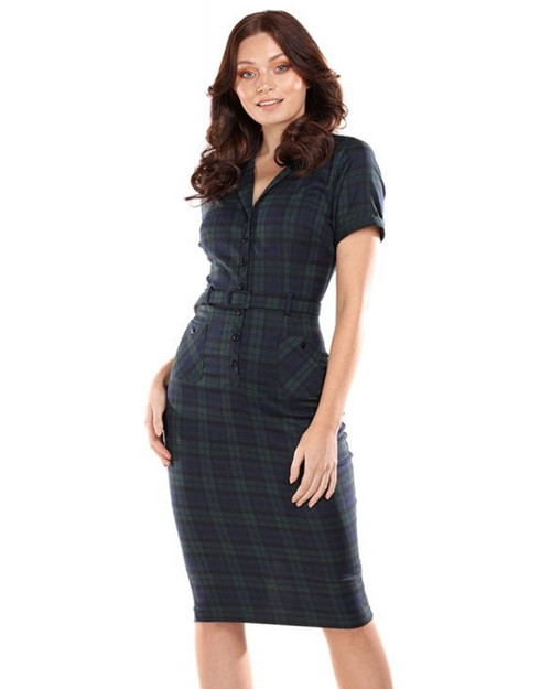 Collectif Caterina Blackwatch Plaid Belted Pencil Dress