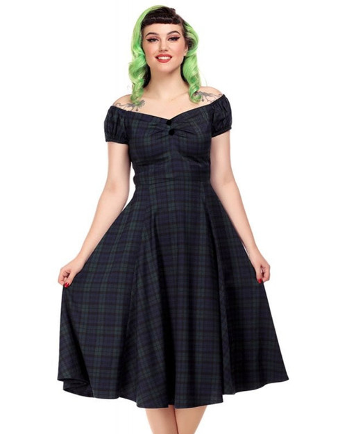 Collectif Dolores Blackwatch Plaid A-Line Dress