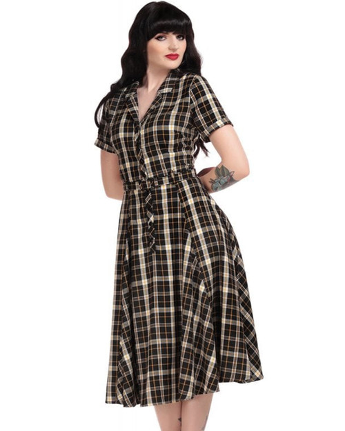 Collectif Caterina Geek Plaid Belted Swing Dress