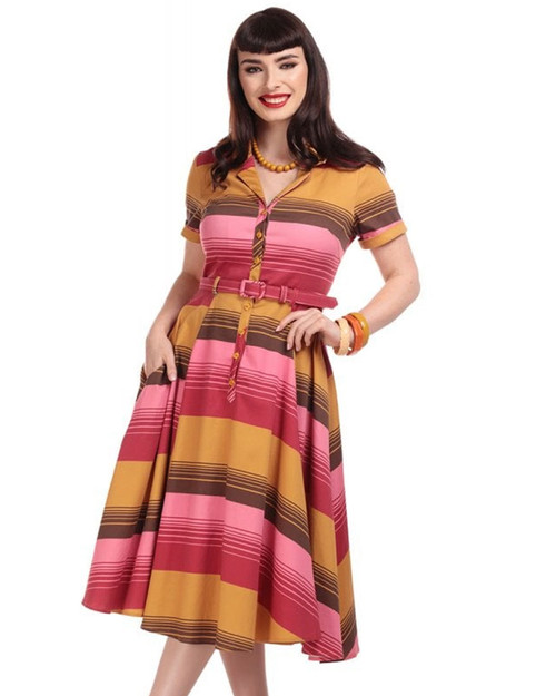 Collectif Caterina Sunset Stripes Belted Swing Dress