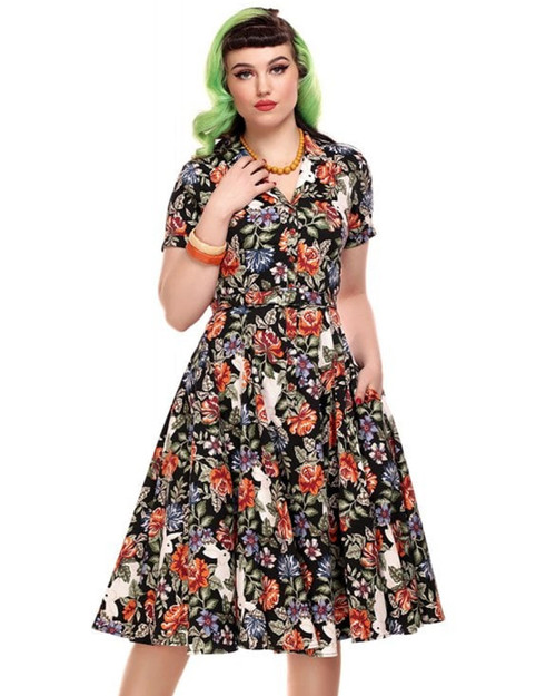 Collectif Caterina Forest Floral White Rabbit Belted Swing Dress