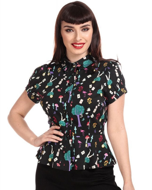 Collectif Mary Grace In Wonderland Short Sleeve Blouse