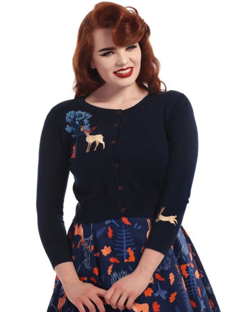Collectif Jessie Forest Friends 3/4 Sleeve Cardigan