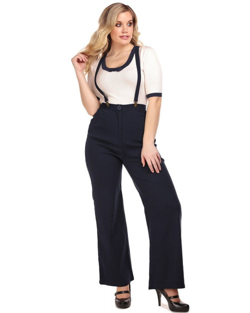 Collectif Glinda High Waist Wide Leg Suspender Trousers