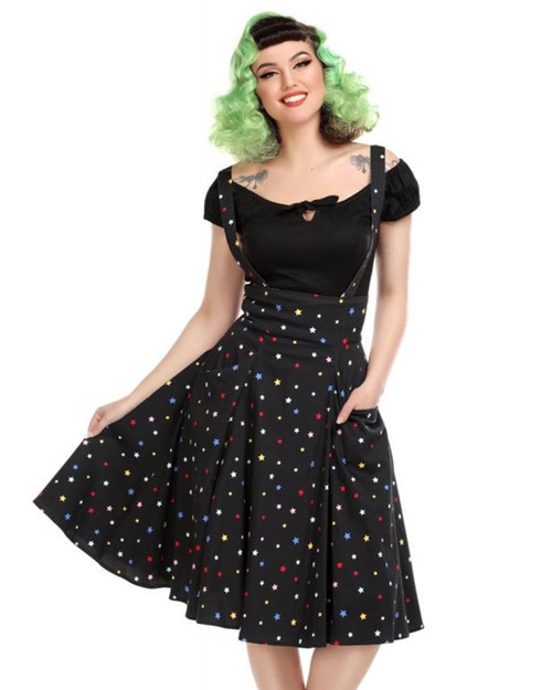 Collectif Alexa Rainbow Star Suspender Swing Skirt