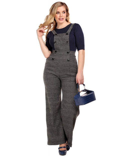 Collectif Brenda Librarian Plaid Wide Leg Overalls
