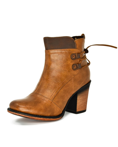 Lace Up Back Block Heel Ankle Booties