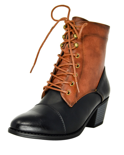 Lace Up Pointed Toe Heeled Combat Boots cognac