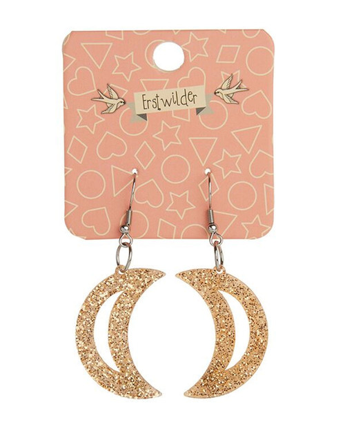 Erstwilder Crescent Moon Glitter Dangle Earrings