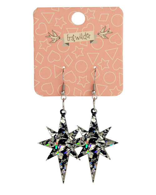 Erstwilder Starburst Holographic Glitter Dangle Earrings