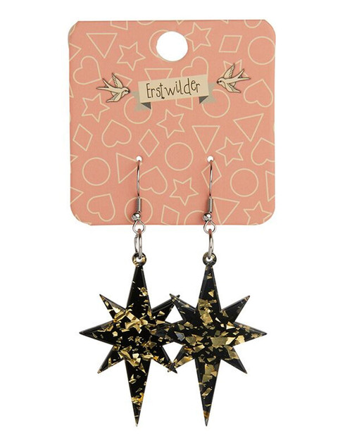 Erstwilder Starburst Holographic Glitter Dangle Earrings - Black & Gold