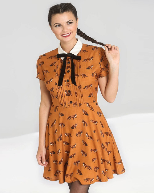 Hell Bunny Vixey Fox Print Collared Short Sleeve A-Line Dress
