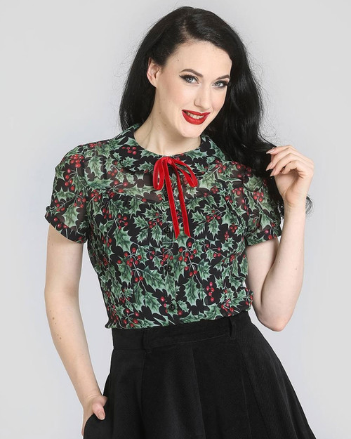Hell Bunny Holly Berry Peter Pan Collar Chiffon Blouse