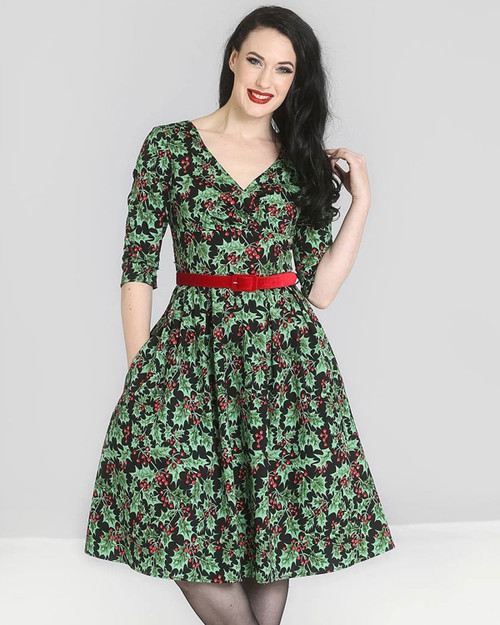 Hell Bunny Holly Berry 3/4 Sleeve Belted Swing Dress