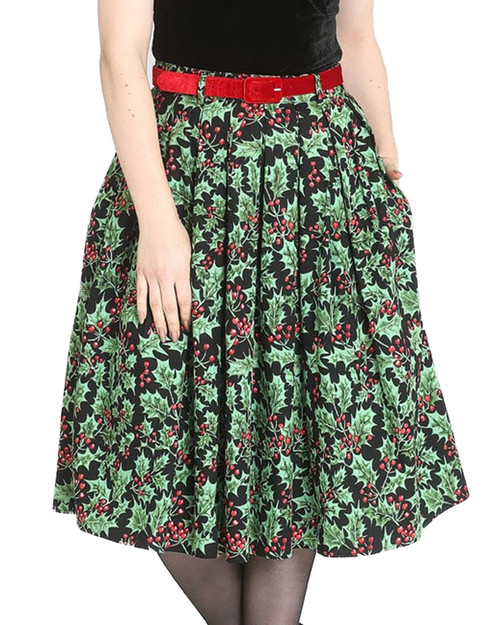 Hell Bunny Holly Berry High Waist Belted Swing Skirt