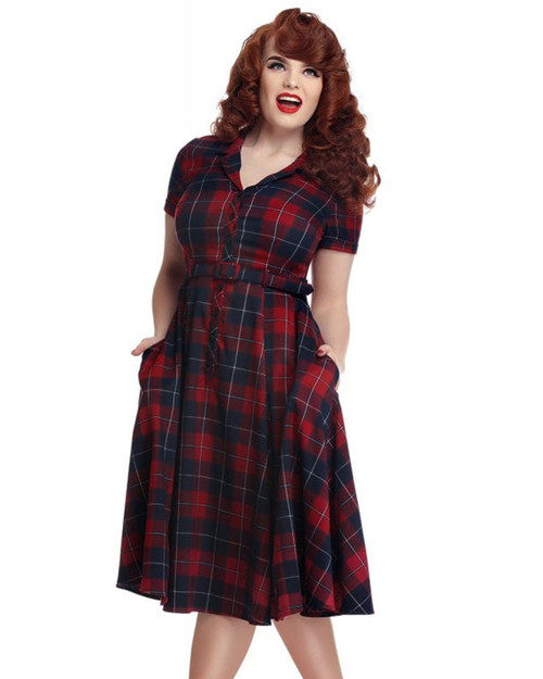 Collectif Caterina Ginsburg Plaid Belted Swing Dress
