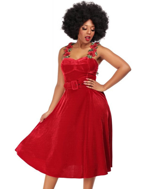 Collectif Bella Occasion Rose Patch Velvet Swing Dress