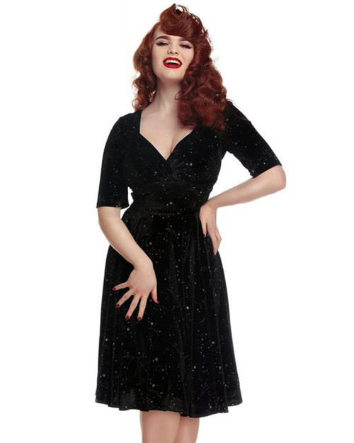 Collectif Trixie Make A Wish Glitter Star Velvet A-Line Dress
