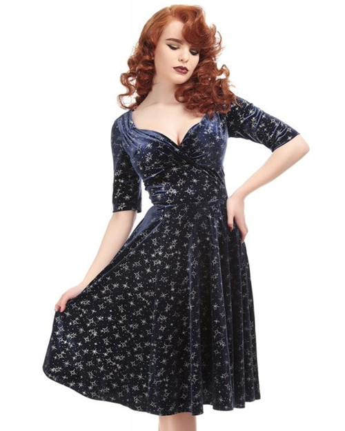 Collectif Trixie Velvet Sparkle A-Line Dress