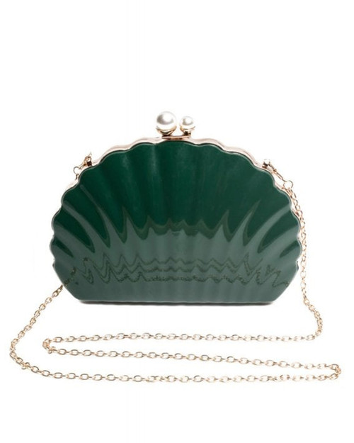 Collectif Seashell Hard Clutch - Emerald