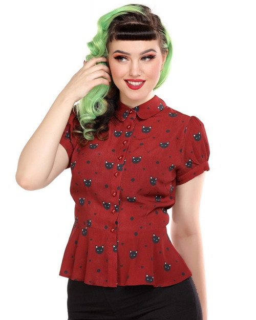 Collectif Mary Grace Polka Meow Short Sleeve Blouse