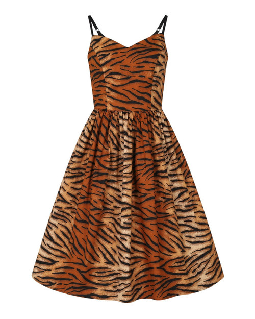 Hell Bunny Tora Tiger Stripe Sleeveless Swing Dress