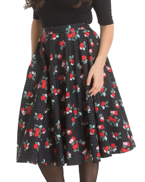 Hell Bunny Apple Blossom High Waist Swing Skirt