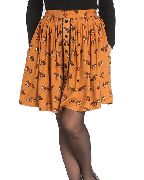 Hell Bunny Vixey Fox Print Button Mini Skirt