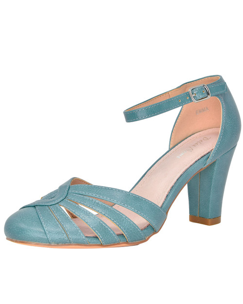 Dolce Nome Emma Retro Closed Toe Heel Aqua Side